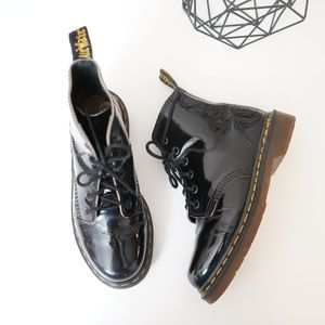 Dr. Martens Made In England Patent 6 Eye Boots